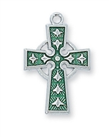 Sterling Silver Celtic Enamel Cross L9066