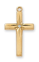 18 KT. Gold over Sterling Silver Cross J7004