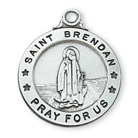 Sterling Silver St Patron Saint of Orphanages//Seminarians Hannibal Pendant with 18 Sterling Silver Lite Curb Chain