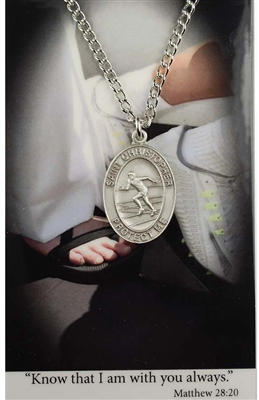 Girls Track Prayer and Saint Christopher Pewter Medal PSD675TR