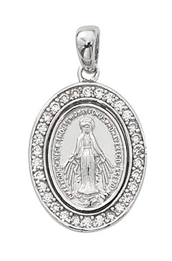 Sterling Silver Crystal Stone Miraculous Medal L701