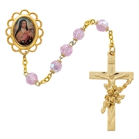 St. Therese Gold Rose Glass Bead  Rosary 591P/F