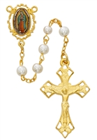 GOLDPLATED PEWTER GUADALUPE ROSARY R596HF