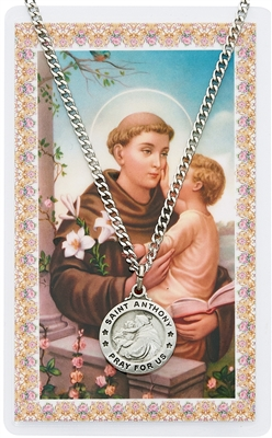 Saint Anthony Pewter Medal & Holy Card Set PSD600AN