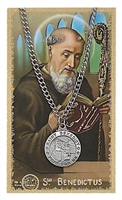 Saint Benedict Pewter Medal & Prayer Card Set