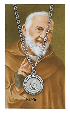 St. Pio Pendant and Prayer Card Set