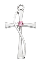Sterling Silver Cross with Rose Color Stone L9169