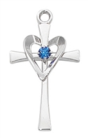 Sterling Silver Cross with Blue Stone L9177
