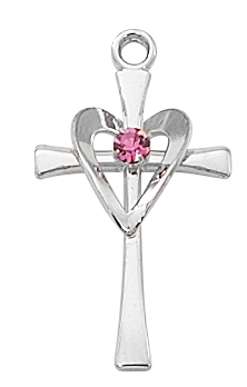 Sterling Silver Cross with Rose Stone Heart L9178