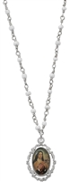 Rhodium St. Therese of Lisieux Pendant, 18in Pearl Bead Chain RC729