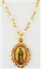 Gold Plated Pewter Our Lady Of Guadalupe With Pearl Chain H738