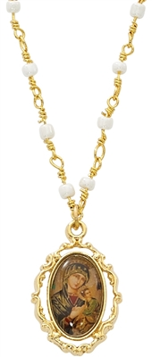 Gold Plated Our Lady of Perpetual Help Medal/ Pearl Chain H759