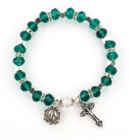 Emerald (May) Birthstone Rosary Bracelet BR811C