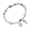Pink Marble Stretch Communion Bracelet BR819C