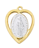 18 KT Goldplated Sterling Silver Miraculous Medal  J776