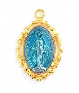 18KT Gold Plated Blue Enamel Miraculous Medal J635