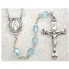 Aqua (March) Birthstone Sterling Silver Rosary 875L-AQF