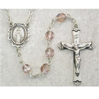 Light Amethyst (June) Birthstone Sterling Silver Rosary 875L-AMF