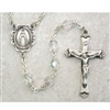 Crystal (April) Birthstone Sterling Silver Rosary 875L-CRF
