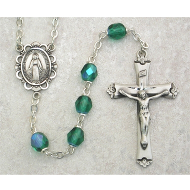 Emerald (May) Birthstone Sterling Silver Rosary 875L-EMF