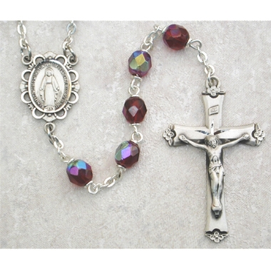 Garnet (January) Birthstone Sterling Silver Rosary 875L-GAF