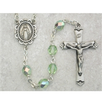 Peridot (August) Birthstone Sterling Silver Rosary 875L-PEF