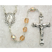 Rose (October) Birthstone Sterling Silver Rosary 875L-RSF