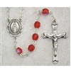 Ruby (July) Birthstone Sterling Silver Rosary 875L-RUF