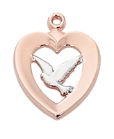Confirmation Rose Gold Sterling Silver Two-Tone Dove JR787