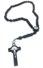 Black Wood Bead Saint Benedict Rosary with Holy Card 718R