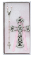 Baptism Girl Pewter Cross and Pink Rosary Set BS10
