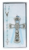 Boy Baptism Pewter Cross and Blue Rosary Set BS11