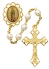 GOLDPLATED 7MM PEARL OUR LADY OF GUADALUPE ROSARY 854HF