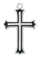 Sterling Silver Cross with Black Fill L9252