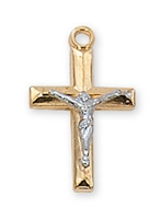 Sterling Silver Gold Plated Tutone Crucifix JT9088