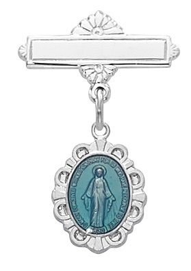 Sterling Silver Blue Enamel Miraculous Medal Baby Pin 426L