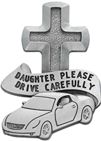Daughter Please Drive Carefully Pewter Visor Clip VC-794