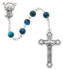 Child's Italian Made 6MM Blue Swirl Glass Bead Rosary P3BLR