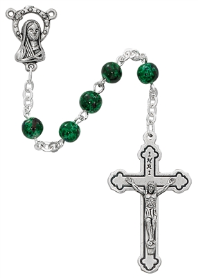Child's Italian Made 6MM Green Swirl Glass Bead Rosary P3GRR