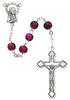 Child's Italian Made 6MM Pink Swirl Glass Bead Rosary P3PKR