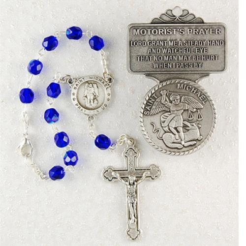 St. Michael/Guardian Angel Auto Rosary & Visor Clip Set AV-MK