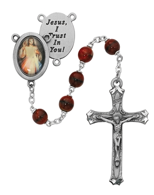 7MM RED DIVINE MERCY ROSARY R218DF