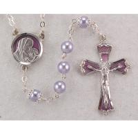 Lavender Pearl Rosary with Enamel Crucifix and Center