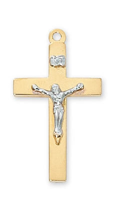 18KT. Gold Over Sterling Silver Crucifix JT9116