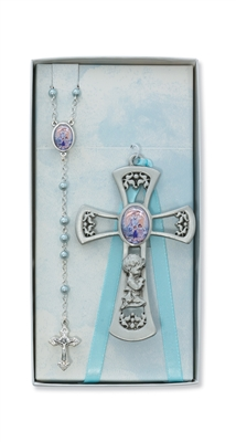Pewter Boy Cross with Guardian Angel Rosary Set