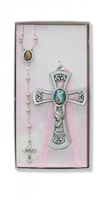 Pewter Girl Cross with Guardian Angel Rosary Set BS36