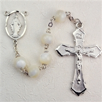 Genuine Mother Of  Pearl Bead Rosary R275RF
