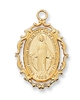 18KT. Gold Over Sterling Silver Miraculous Medal J621MI