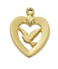 GOLD OVER STERLING SILVER DOVE HEART J638