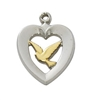 STERLING SILVER TUTONE HEART WITH DOVE L653